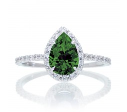 1.5 Carat Classic Pear Cut Emerald With Diamond Celebrity Engagement Ring on 10k White Gold