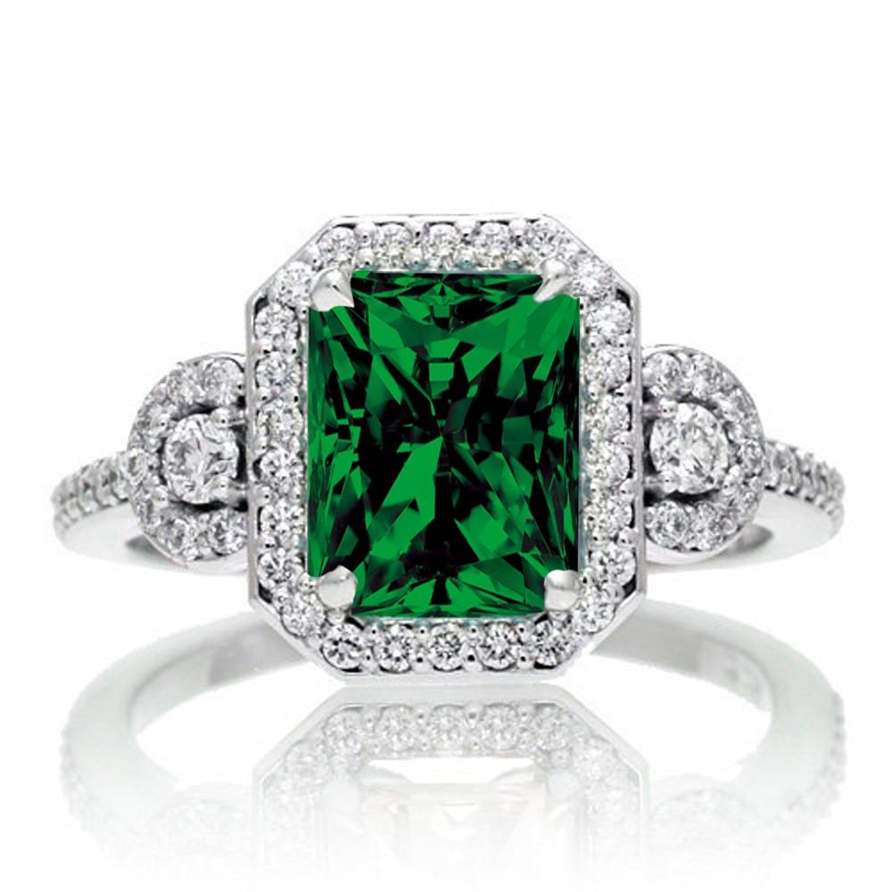 1 5 Carat Emerald Cut Three Stone Emerald Halo Diamond Ring on 10k White Gold