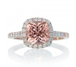 1.5 Carat Perfect Cushion Emerald and Diamond Engagement Ring on 10k Rose Gold