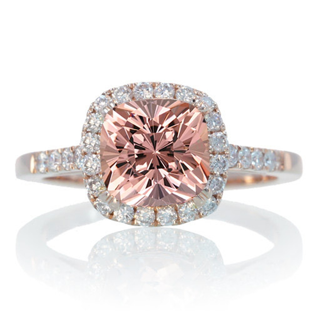 15 Carat Perfect Cushion Morganite and Diamond Engagement Ring on