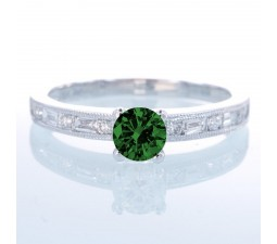 1.5 Carat Round cut Vintage Emerald and Diamond Engagement Ring on 10k White Gold
