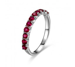 Beautiful Ruby Wedding Band on 10k White Gold