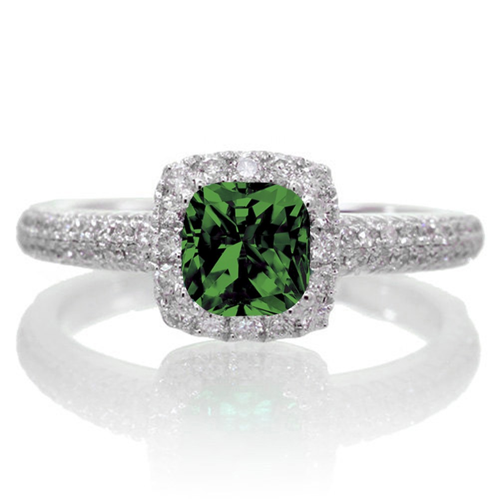 2 carat vintage halo emerald and engagement ring