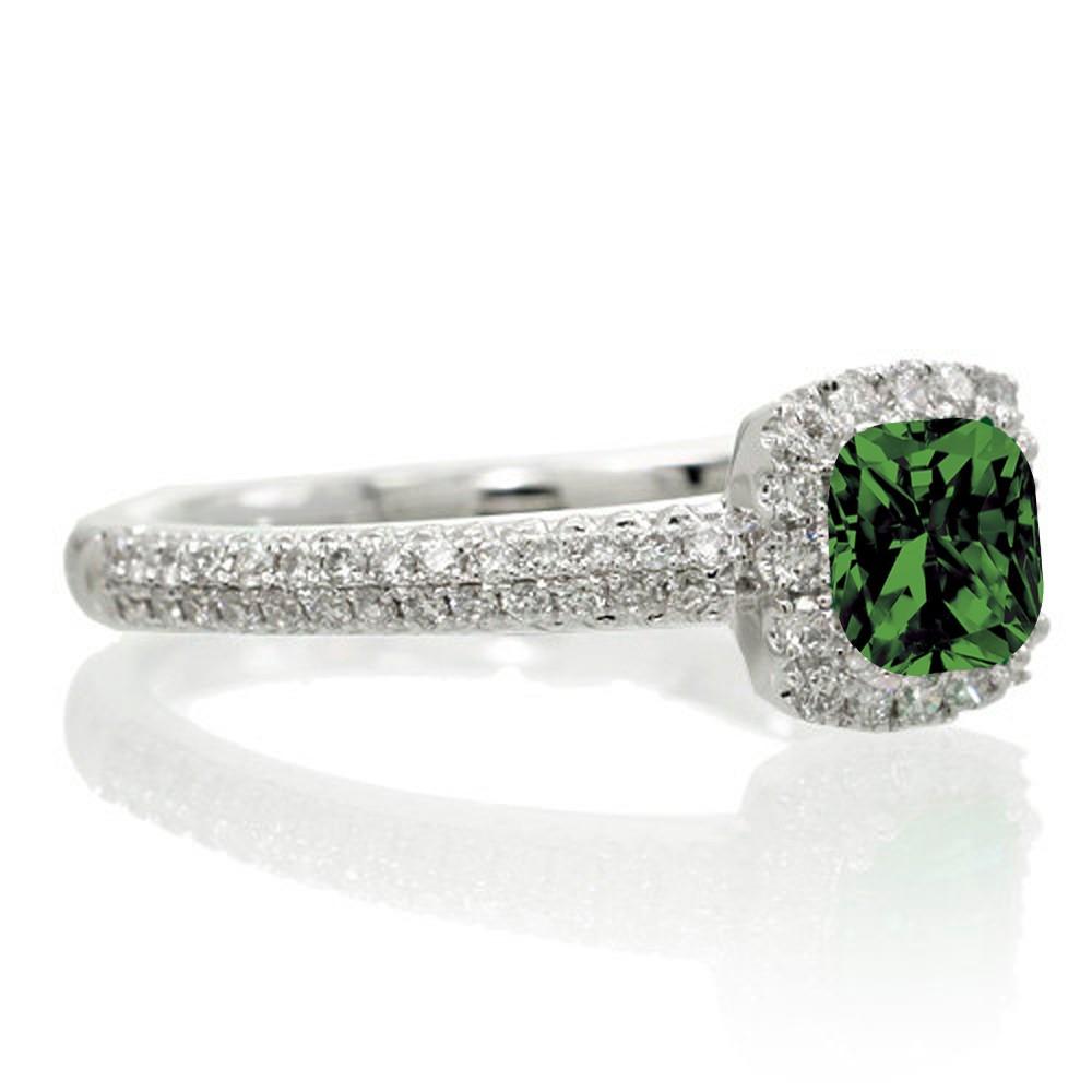 2 carat vintage halo emerald and diamond engagement ring on 10k