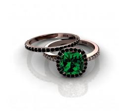 2.00 carat Emerald and Black diamond Halo Bridal Set in 10k Rose Gold