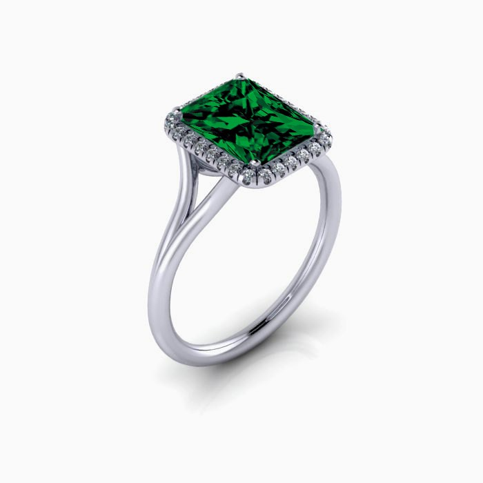 2 00 carat Emerald Cut Emerald and Diamond Halo Bridal Set in 10k White Gold