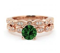 2.00 carat Round Cut Round and Diamond Halo Bridal Set in 10k Rose Gold