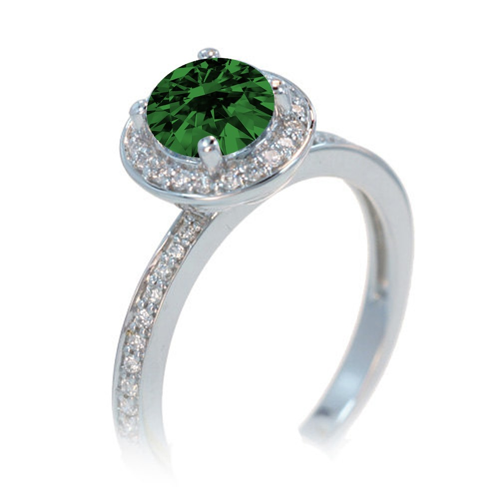 2 carat unique classic halo round emerald and diamond for Emerald and diamond wedding ring