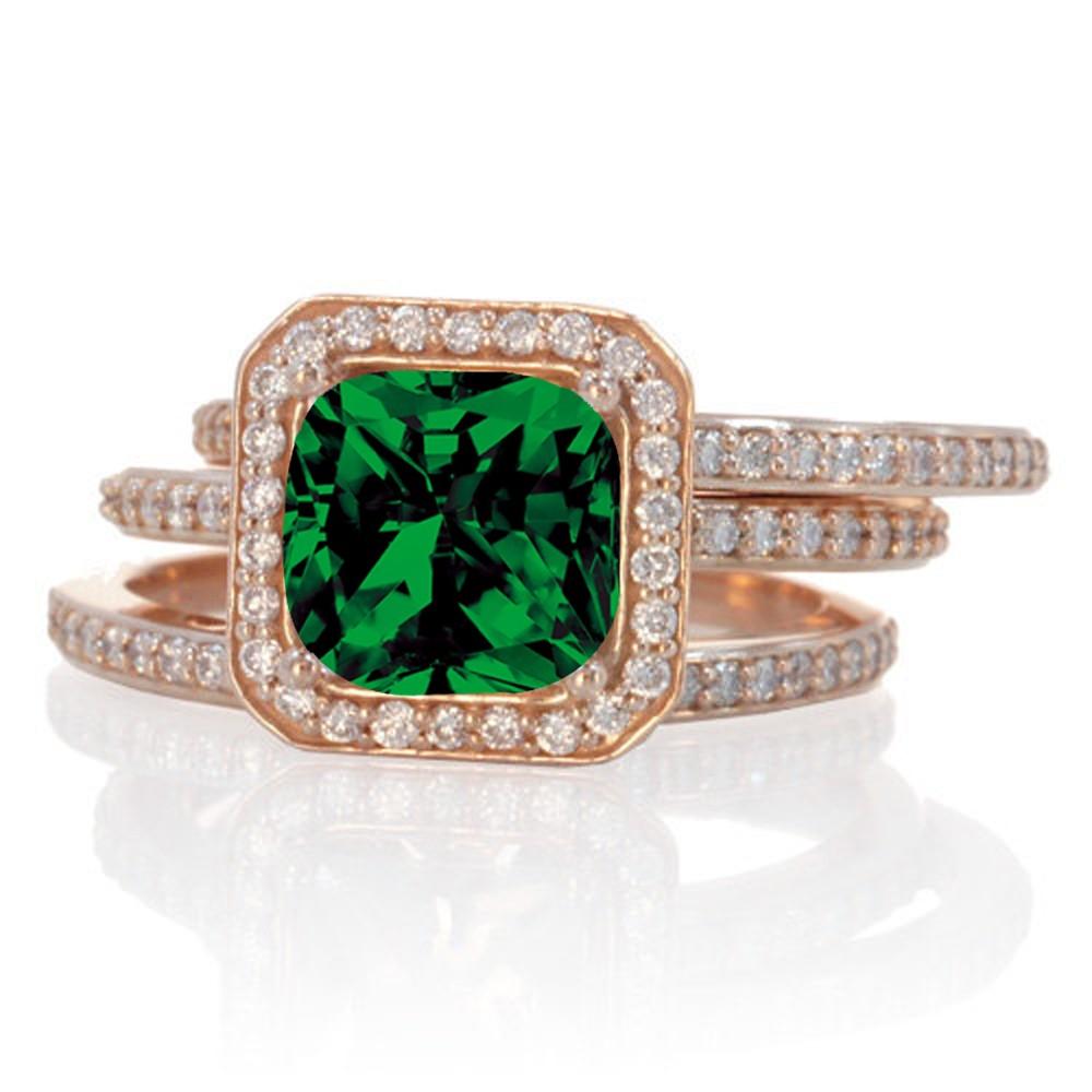 225 carat perfect princess cut emerald and diamond trio for Emerald cut diamond wedding ring sets