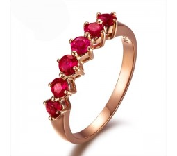 Beautiful Ruby Wedding Band on 18k Yellow Gold