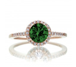 1.5 Carat Round Classic Emerald and Diamond Vintage Engagement Ring on 10k Rose Gold
