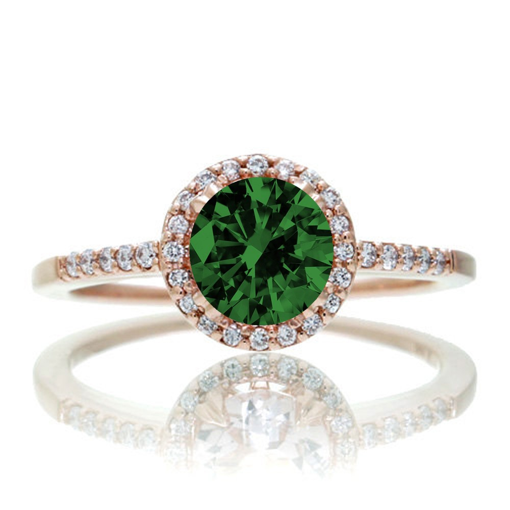 1 5 Carat Round Classic Emerald and Diamond Vintage Engagement Ring on 10k Ro