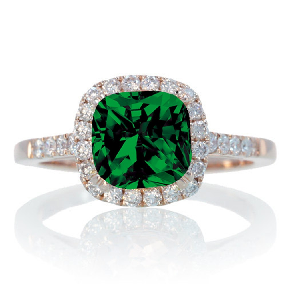 15 carat perfect cushion emerald and diamond engagement