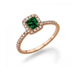 1.50 carat Emerald Cut Emerald and Diamond Halo Engagement Ring in 10k Rose Gold