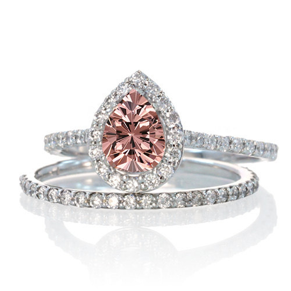morganite wedding ring set Click Thumbnails to Enlarge