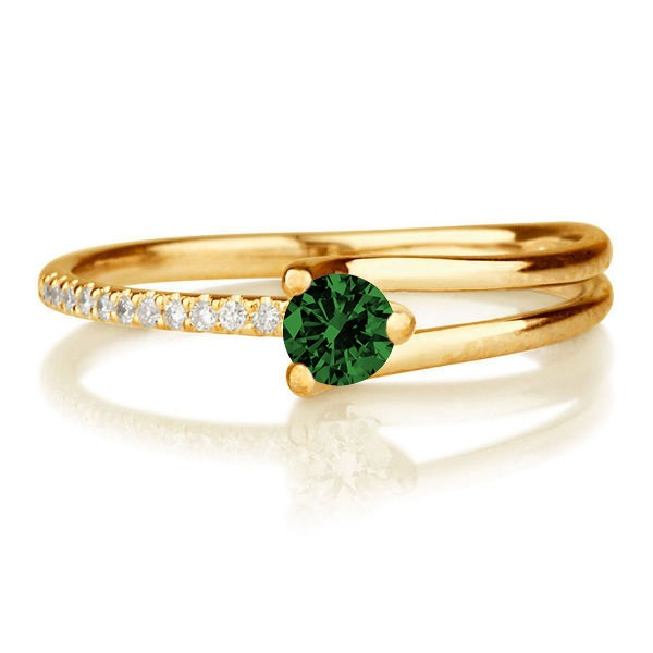 1.25 carat Round Cut Round and Diamond Engagement Ring in 10k Yellow Gold