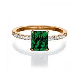 1.50 carat Emerald Cut Emerald  Engagement Ring in 10k Rose Gold