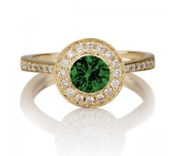1.25 carat Round Cut Emerald and Diamond Halo Engagement Ring in 10k Yellow Gold
