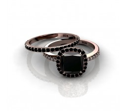 2.00 carat Black Diamond Halo Bridal Set in 10k Rose Gold