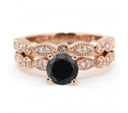 2.00 carat Round Cut Black Diamond & White Diamond Halo Bridal Set in 10k Rose Gold