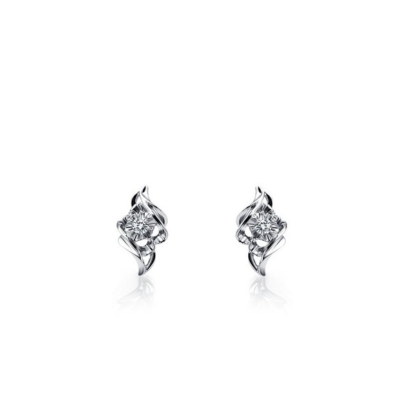 Very Affordable Unique Diamond Earrings On 10k White Gold
