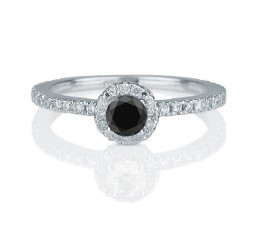 1.50 carat Round Cut Black Diamond & White Diamond Halo Engagement Ring in 10k White Gold