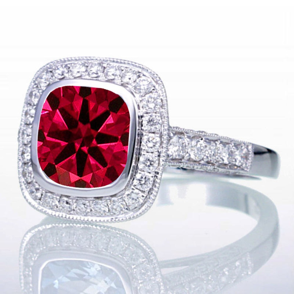 1 5 carat cushion cut ruby and halo vintage