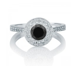 1.25 carat Round Cut Black Diamond & White Diamond Halo Engagement Ring in 10k White Gold
