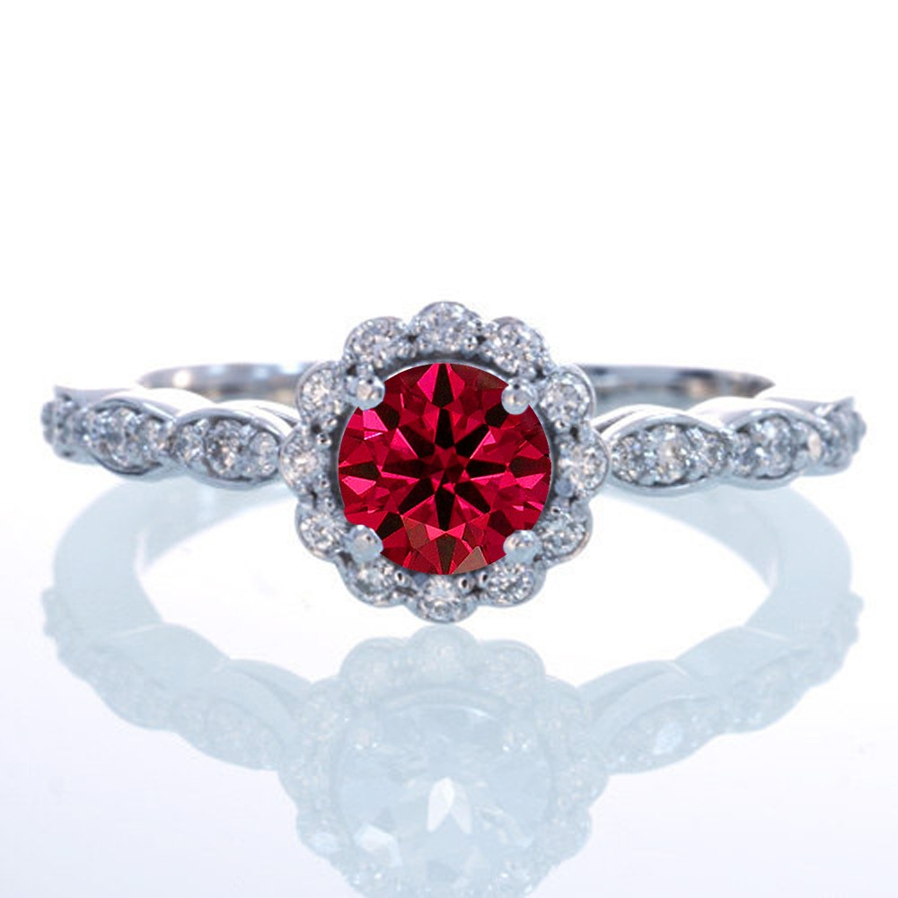 15 Carat Round Cut Ruby And Diamond Flower Vintage Designer Engagement Ring  On 10k White Gold