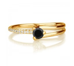 1.25 carat Round Cut Black Diamond & Yellow Diamond Engagement Ring in 10k Yellow Gold