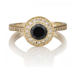 1.25 carat Round Cut Black Diamond & White Diamond Halo Engagement Ring in 10k Yellow Gold