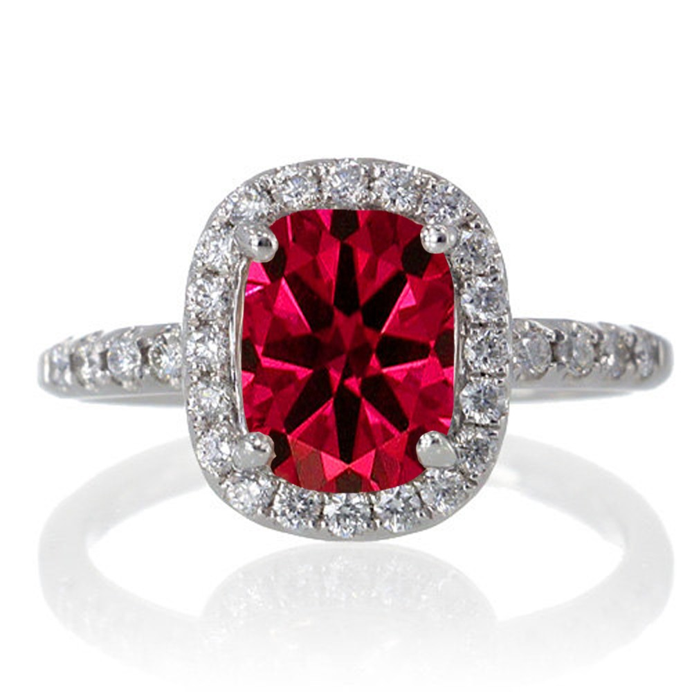 1 5 Carat Cushion Cut Ruby Antique Diamond Engagement Ring on 10k White Gold