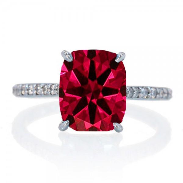 2 25 Carat Cushion Cut Ruby And Diamond Celebrity