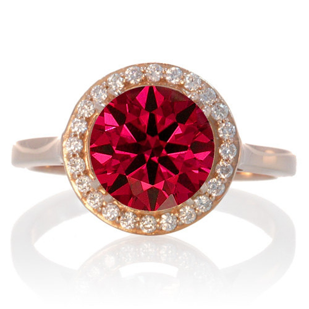 125 Carat Round Halo Classic Diamond And Ruby Engagement Ring On 10 Rose  Gold