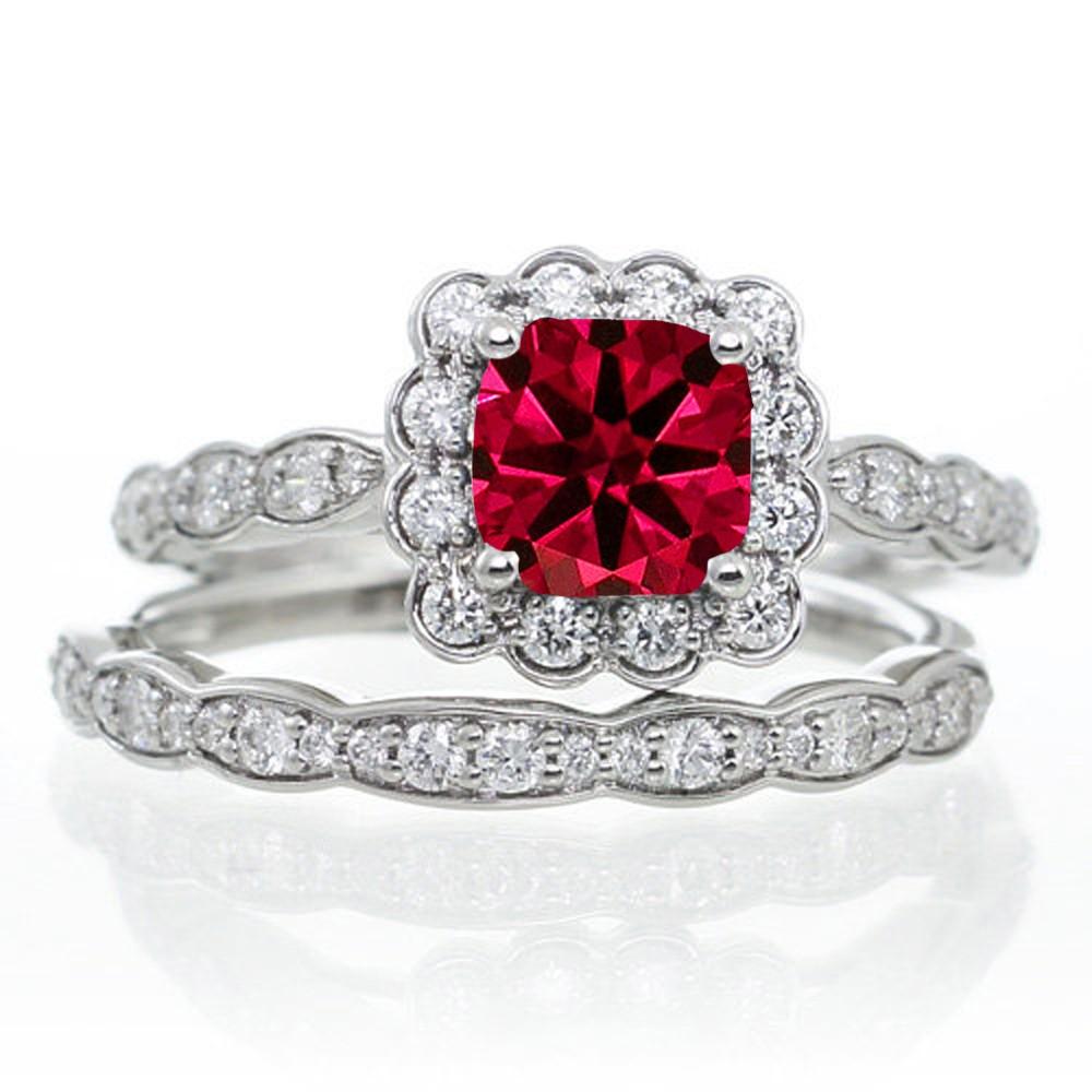 2 Carat Ruby And Diamond Halo Bridal Ring Set On 10k Rose Gold