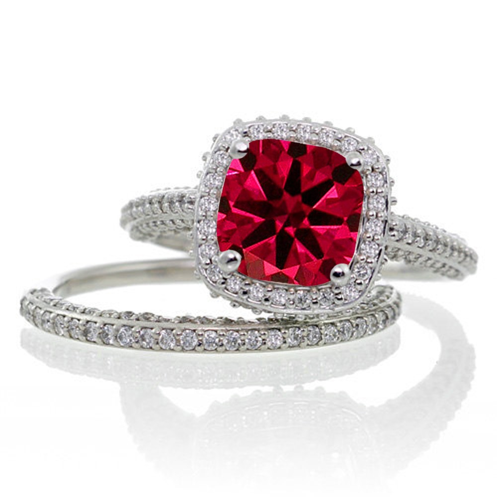 2 5 Carat Cushion Cut Designer Ruby And Diamond Halo