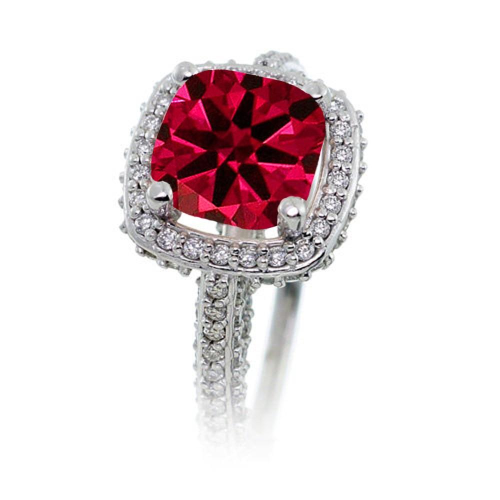 2 5 Carat Cushion Cut Designer Ruby And Diamond Halo Wedding Ring