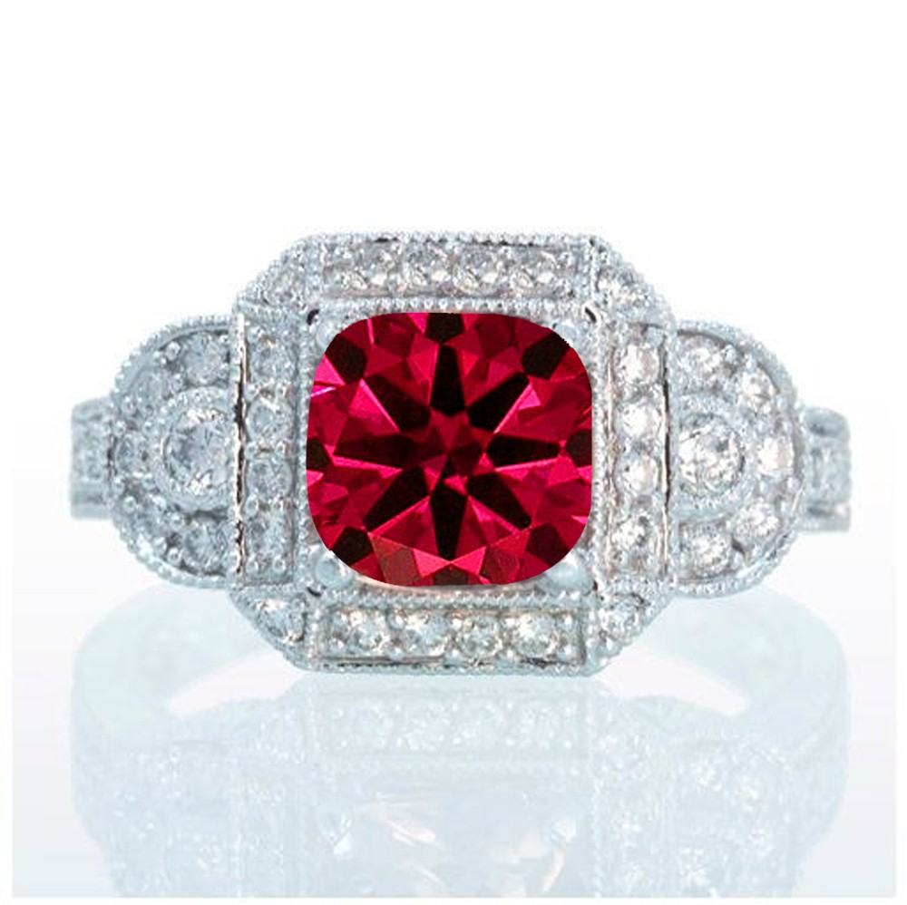 1 5 Carat Vintage Princess Cut Ruby And Diamond Designer