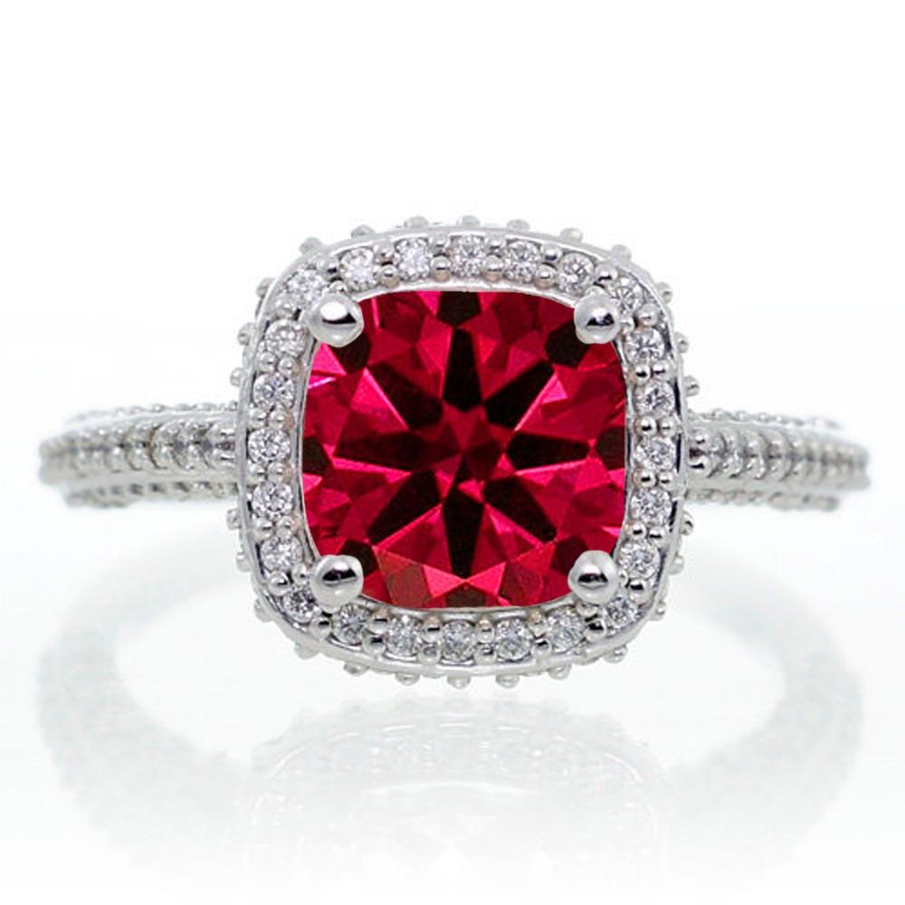 1 5 Carat Cushion Cut Designer Emerald And Diamond Halo Engagement Ring On 10k White Gold