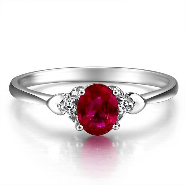 ruby and diamond engagement ring on 9ct white gold jeenjewels. Black Bedroom Furniture Sets. Home Design Ideas