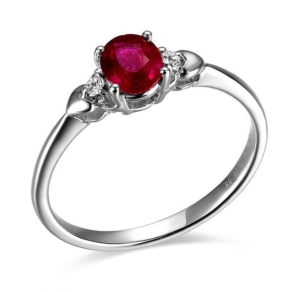ruby and engagement ring on 9ct white gold