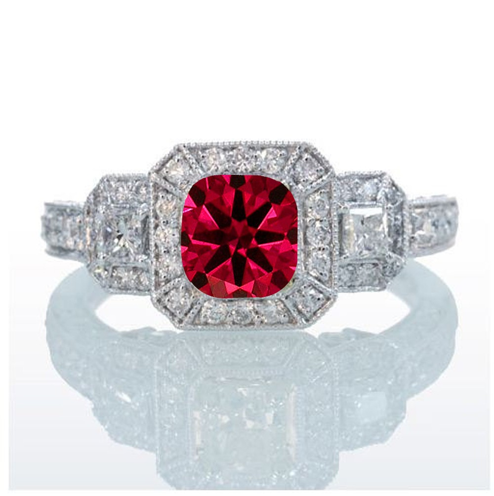 2 Carat Princess Cut Trilogy Ruby And Diamond Vintage Halo