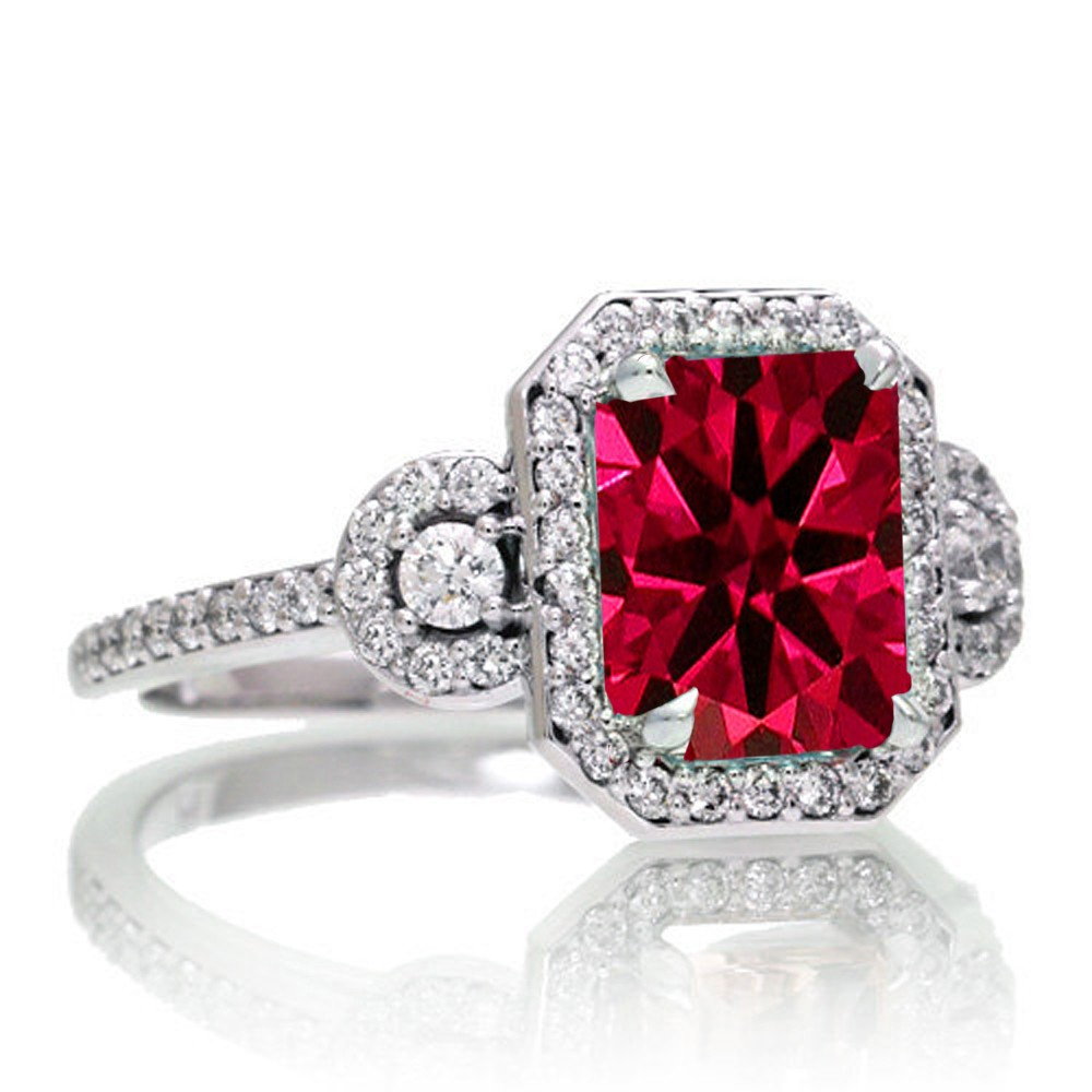 1 5 Carat Emerald Cut Three Stone Ruby Halo Diamond Ring