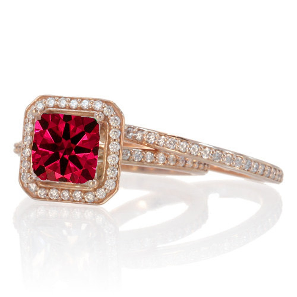 2 Carat Beautiful Ruby and diamond Halo Wedding Ring Set on 10k White Gold