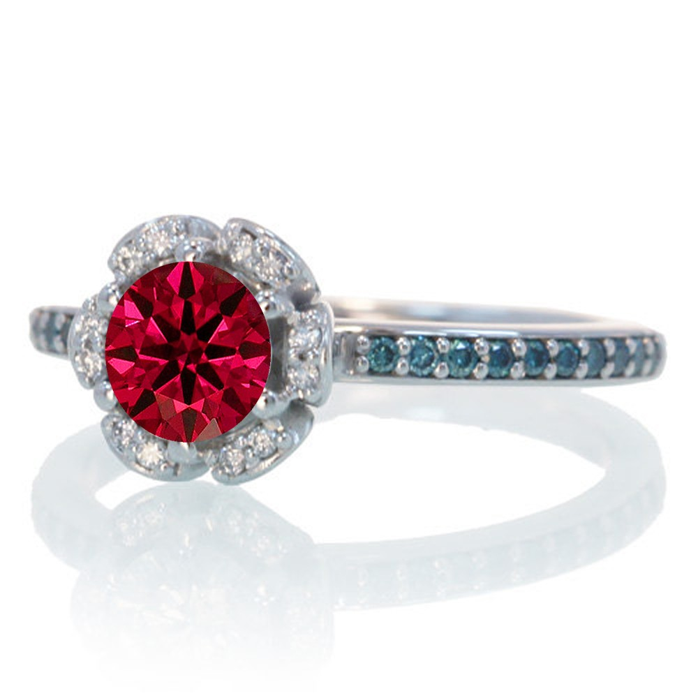 1 5 Carat Unique Flower Halo Round Ruby and Diamond Engagement Ring on 10k Wh