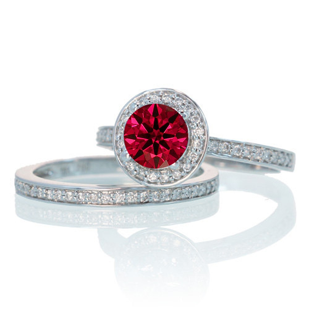 2 carat unique classic halo round ruby and diamond bridal ring set on 10k white gold jeenjewels. Black Bedroom Furniture Sets. Home Design Ideas