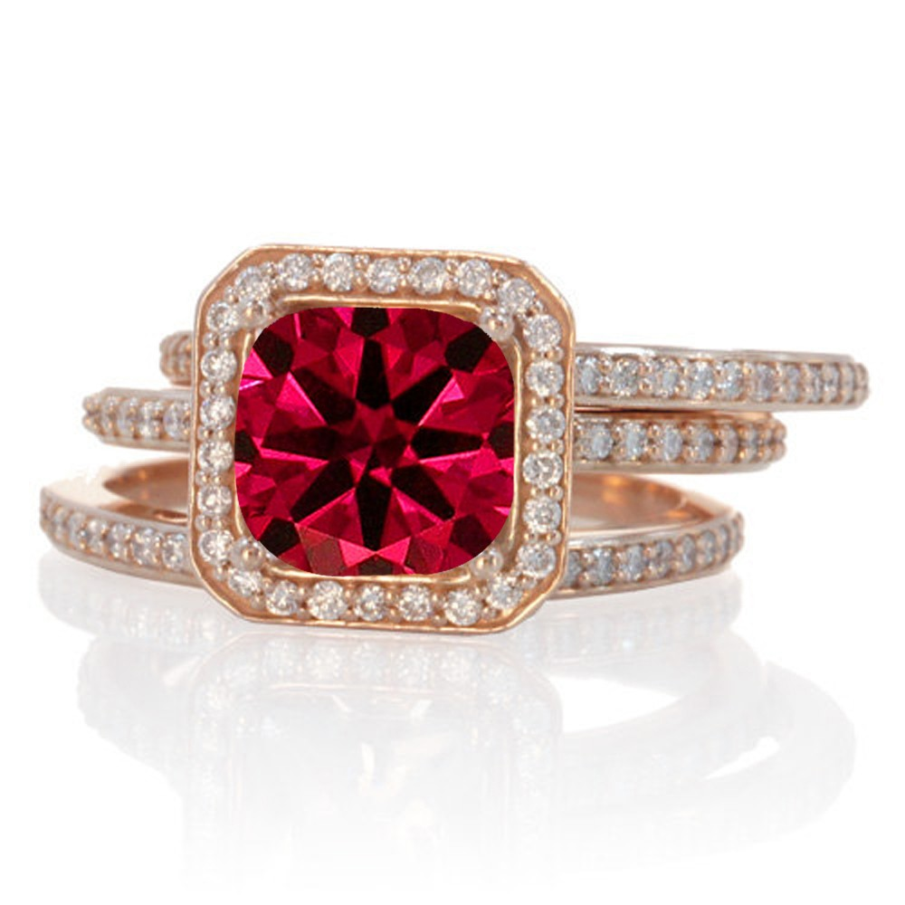 2 50 Carat Perfect Princess Cut Ruby And Diamond Trio Halo