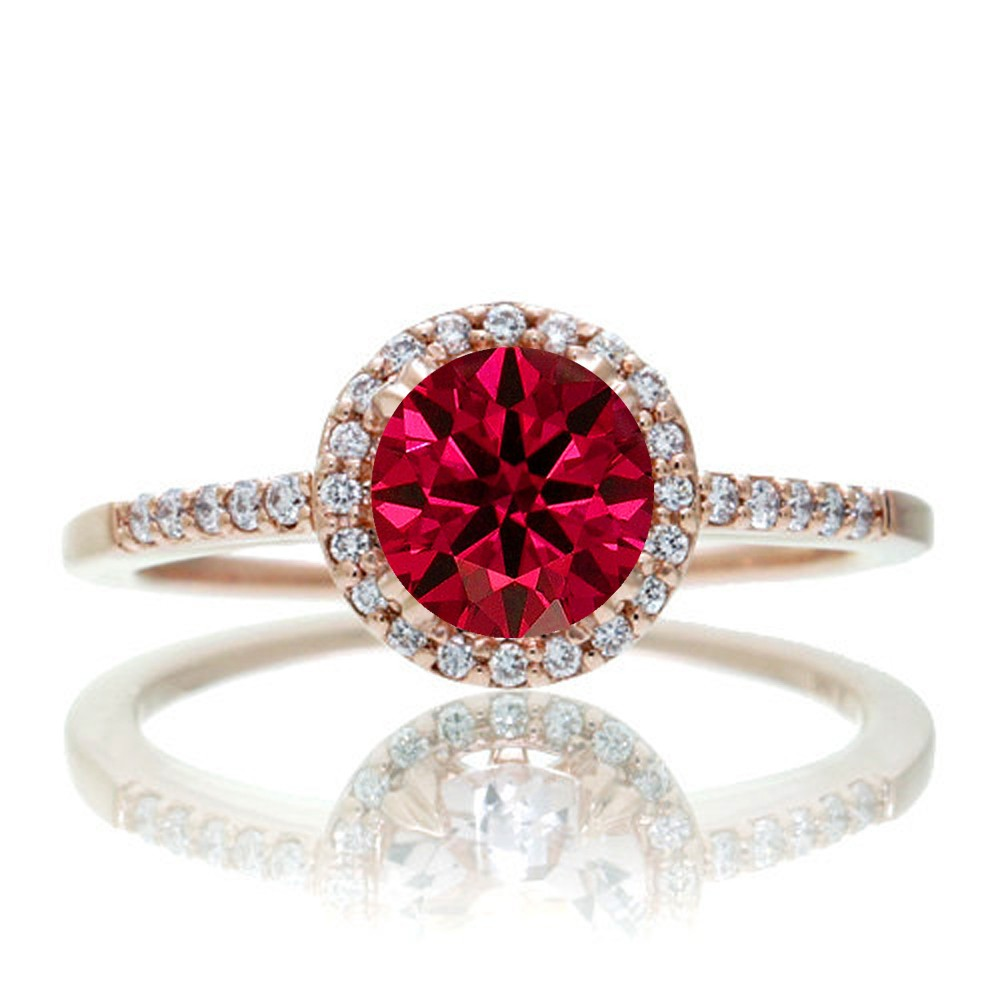 1 5 Carat Round Classic Ruby And Diamond Vintage Engagement Ring On 10k Rose Gold