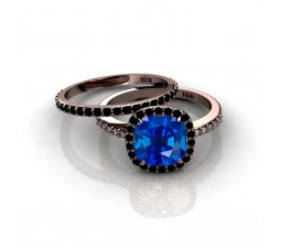 2.00 carat Sapphire and Black diamond Halo Bridal Set in 10k Rose Gold