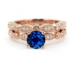 2.00 carat Round Cut Sapphire and Diamond Halo Bridal Set in 10k Rose Gold